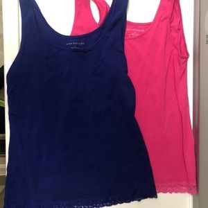 Anne Taylor cotton tanks with lace detail at hem